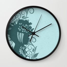 Garden Hat Chic:  Stylish Lady in hat silhouette with turquoise blue and teal Wall Clock