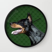 doberman Wall Clocks featuring Doberman by Miguel de Elena