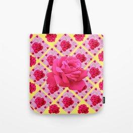 FUCHSIA PINK ROSE PATTERNS & YELLOW GARDEN ART Tote Bag
