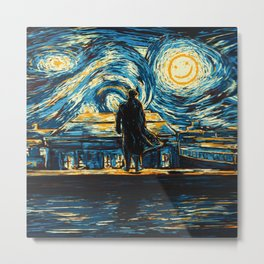 Starry Night Sherlock Holmes Art Painting Metal Print