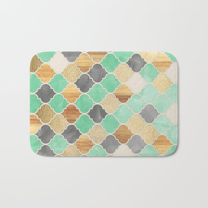 Charcoal, Mint, Wood & Gold Moroccan Pattern Bath Mat