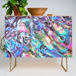 Shimmery Rainbow Abalone Mother of Pearl Credenza