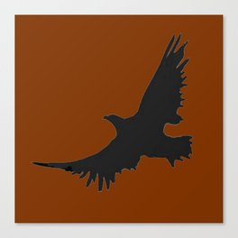 COFFEE BROWN FLYING BIRD SILHOUETTE Canvas Print