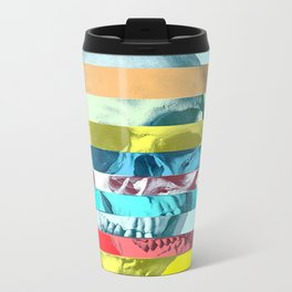 Striped Glitch Skull Metal Travel Mug