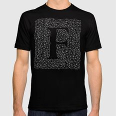 Light Letter F Mens Fitted Tee SMALL Black