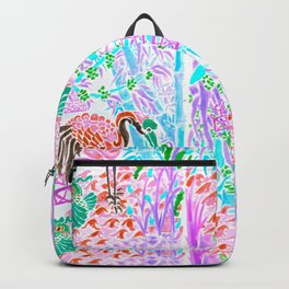 Asian Bamboo Garden in Cherry Blossom Watercolor Backpack