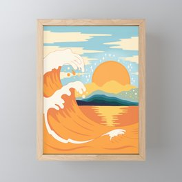 Orange wave Framed Mini Art Print