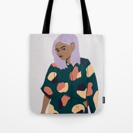 Girl in Modern Graphics Catsuit Tote Bag