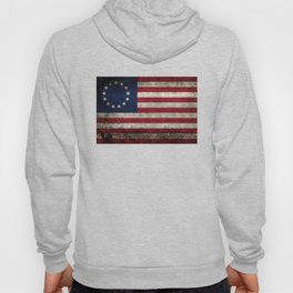 Betsy Ross flag, distressed textures Hoody