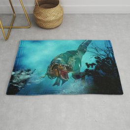 Awesome t-rex with armor Rug
