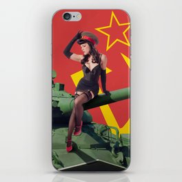 """Sovietsky by Land"" - The Playful Pinup - Russian Tank Pin-up Girl by Maxwell H. Johnson iPhone Skin"