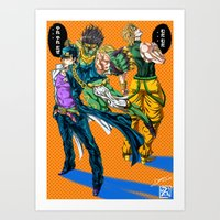 jjba Art Prints featuring JJBA: Kujo Jotaro VS Dio Brando by DzoHo