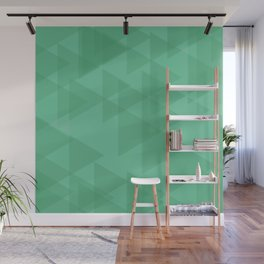 Light lime triangles in intersection and overlay. Wall Mural