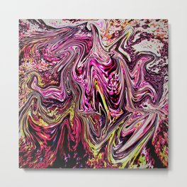 waves of a pink ocean abstract painting Metal Print