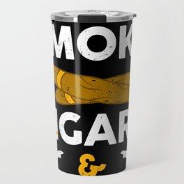 Smoker Smoking Smoke Cigars Drink Beer Gift Travel Mug