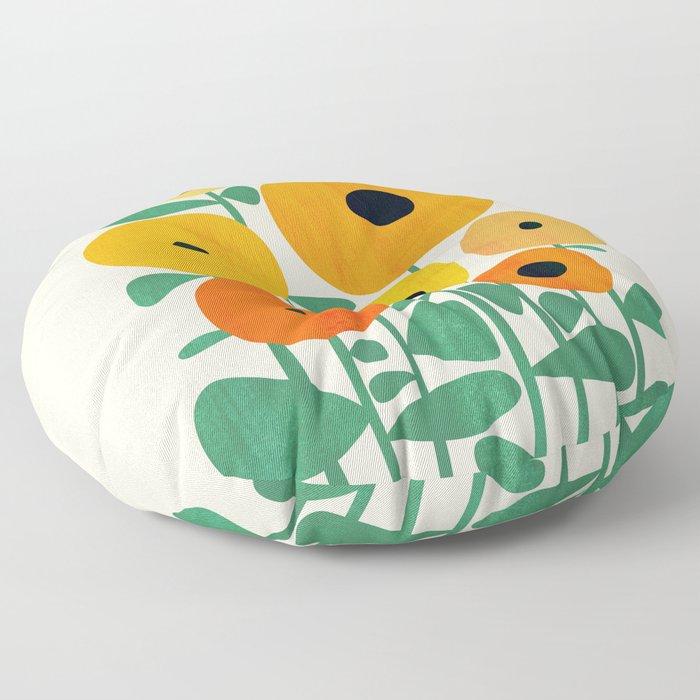 Sunflower and Bee Floor Pillow