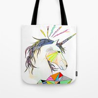 unicorn Tote Bags featuring Unicorn by Belén Segarra