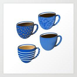 Classic blue coffee cups // coffee cup decor // coffee lover Art Print