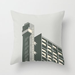 Trellick Tower London Brutalist Architecture - Grey Throw Pillow