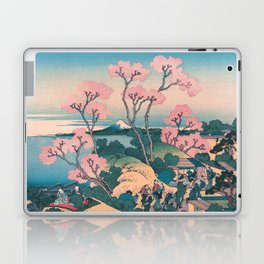 Spring Picnic under Cherry Tree Flowers, with Mount Fuji background Laptop & iPad Skin