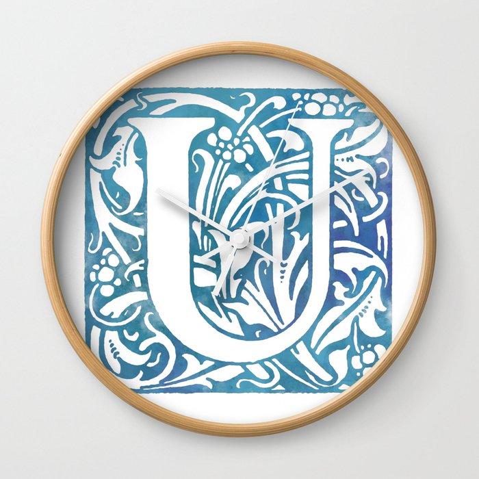 Letter U Elegant Vintage Floral Letterpress Monogram Wall Clock By
