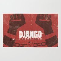 tarantino Area & Throw Rugs featuring Django Unchained -  Quentin Tarantino Minimal Movie Poster by Stefanoreves