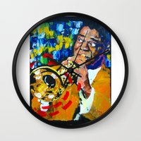 louis armstrong Wall Clocks featuring Louis Armstrong by Phil Fung