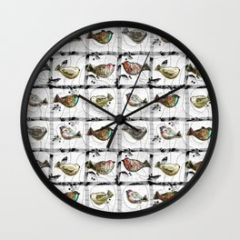 Mosaic of birds Wall Clock