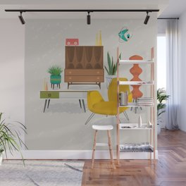 Mid Century Modern Retro Livingroom Wall Mural