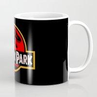 jurassic park Mugs featuring Jurassic Park by MrWhite