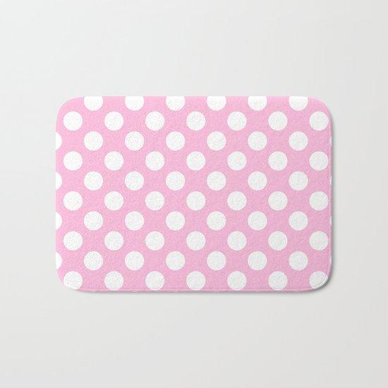 White polkadots dots polkadot circles on pink #Society6 Bath Mat