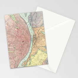 Vintage Map of St Louis MO (1897) Stationery Cards