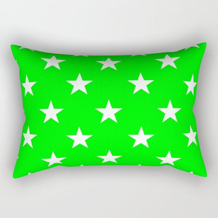 Stars (White/Green) Rectangular Pillow