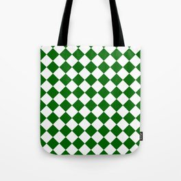 Diamonds - White and Dark Green Tote Bag