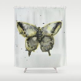 Yellow and Gray Butterfly Shower Curtain