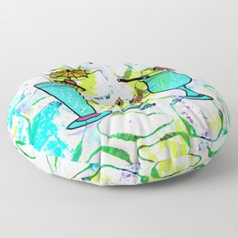 Summer Pool Party Cocktails , Watercolor Painting in Aqua Tequila Sunrise Colors Floor Pillow
