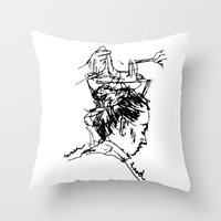 ramen Throw Pillows featuring ramen head by ohkaykay