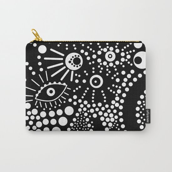 Abstract pattern polka dot black white . Carry-All Pouch