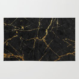Gold Glitter and Black marble Rug