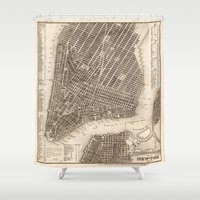 new york map Shower Curtains featuring New York Map by Le petit Archiviste