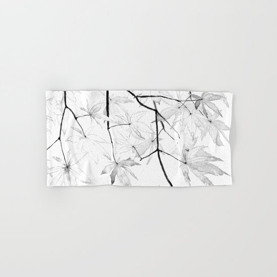 black and white maple leaves Hand & Bath Towel