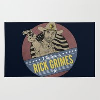 rick grimes Area & Throw Rugs featuring I Believe in Rick Grimes by HuckBlade