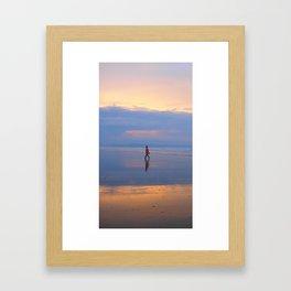 Man on beach Framed Art Print