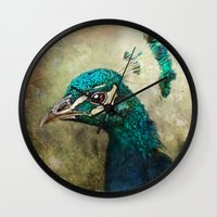 peacock Wall Clocks featuring Peacock by Pauline Fowler ( Polly470 )