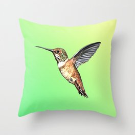 flying hummingbird watercolor sketch Throw Pillow
