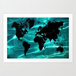 Pure Ocean World Map Art Print