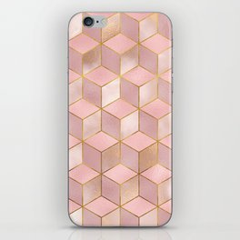 PINK CHAMPAGNE GRADIENT CUBE PATTERN (Gold Lined) iPhone Skin