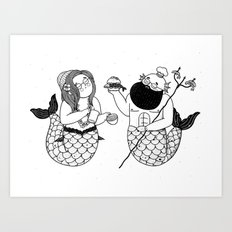 The Mermaid & The Merman Art Print