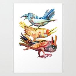 Three Birds Stacked Art Print