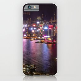 Night Lights on Hong Kong's Victoria Harbour iPhone Case